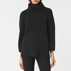 All Saints Jago Crew Neck Sweater in Charcoal